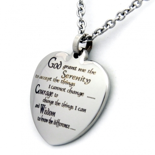 AA Jewelry | AA Gifts | AA Jewelry Gifts Engraved | Heart Pendant Serenity Prayer Heart Necklace