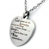 Heart Pendant | Stainless Steel | Serenity Prayer