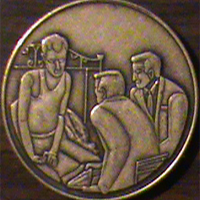 Three Men on the Bed Medallion Three Men on the Bed Medallion Recovery begins when one alcoholic talks with another alcoholic, sharing experience, strength, and hope