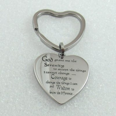 Heart Shaped Keychain, Heart Shaped Keychain with Serenity Prayer, Heart Shaped Keychains,